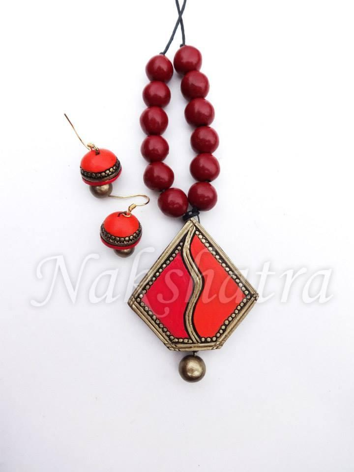 Red And Orange Colour Terracotta Necklace Set