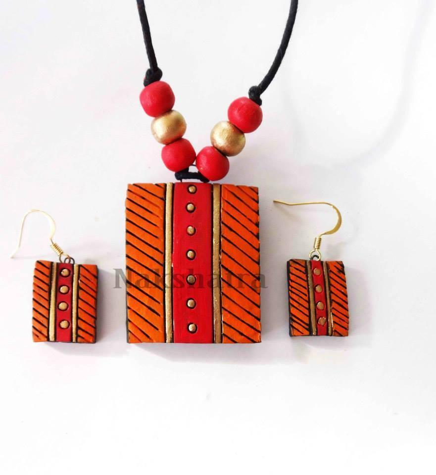Orange & Red Colour Terracotta Necklace Set