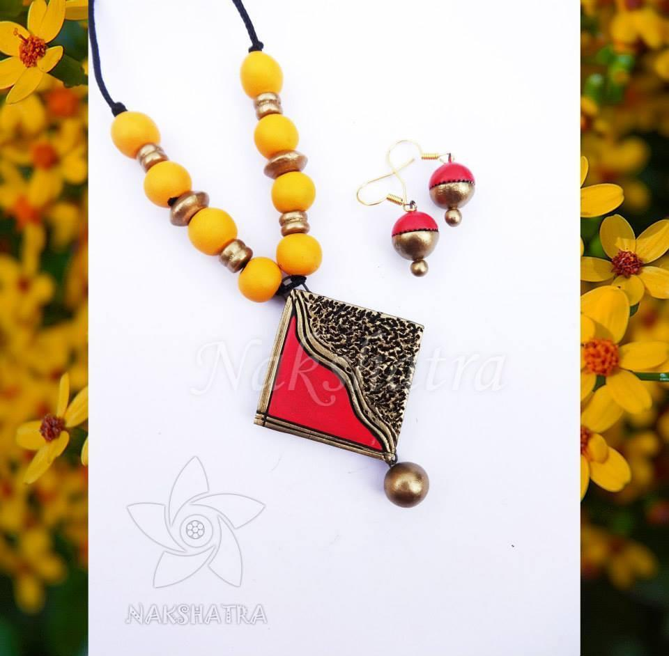 Red And Yellow Color Terracotta Necklace Set