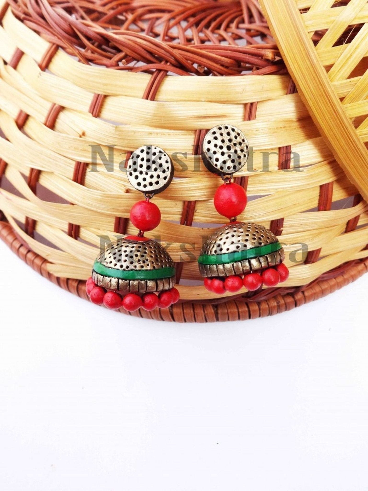 Red Terracotta Jhumka By Nakshatra