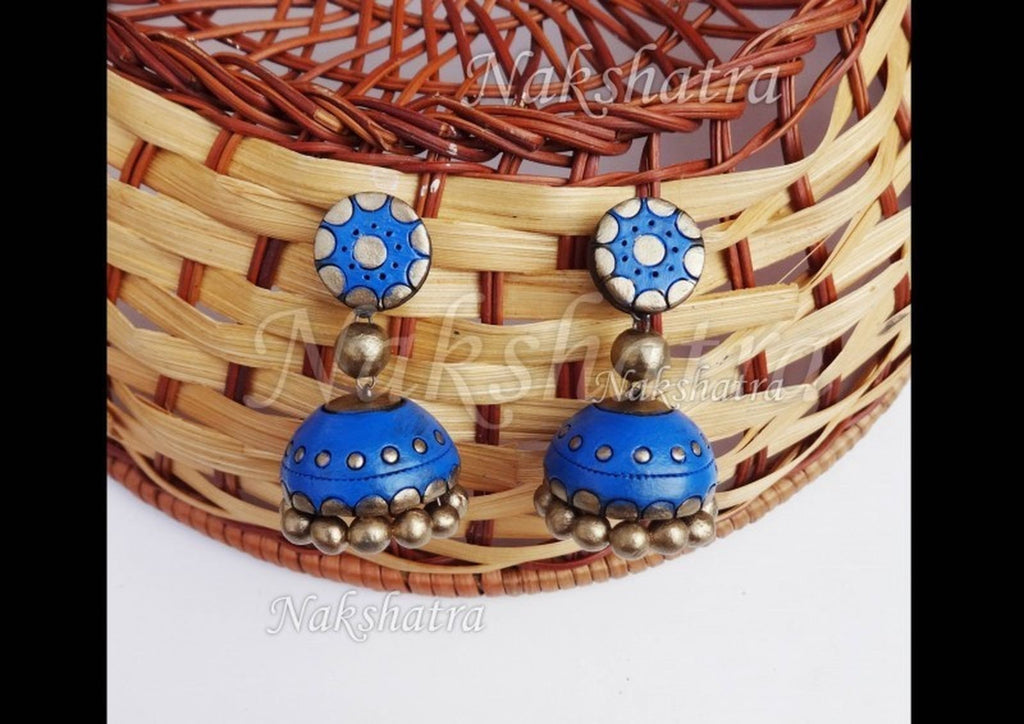 Blue And Gold Color Terracotta Jhumka By Nakshatra