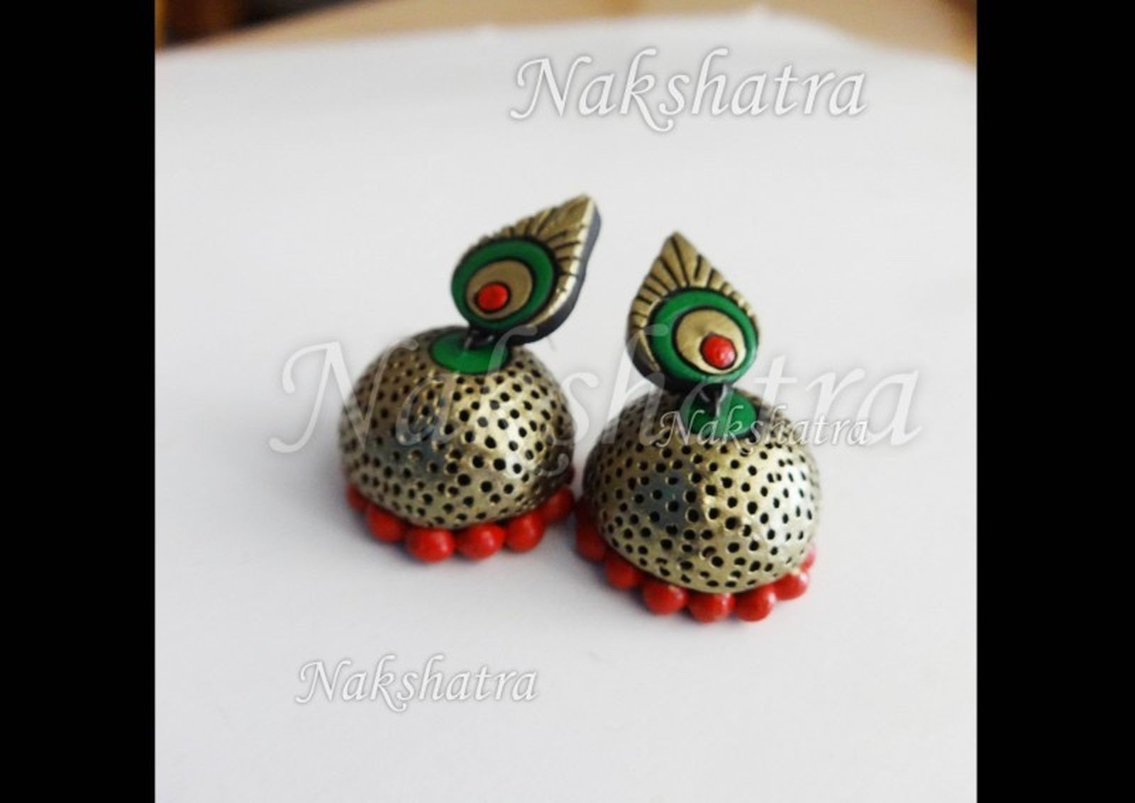 Red And Green Antique Gold Terracotta Jhumka