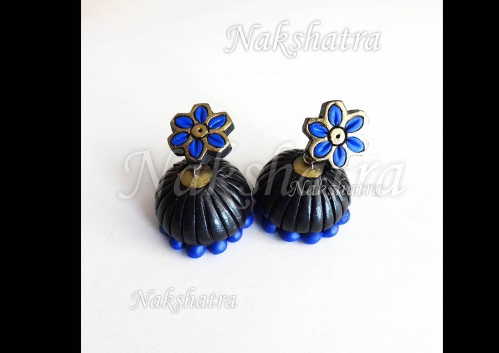 Blue And Blackterracotta Jhumka By Nakshatra