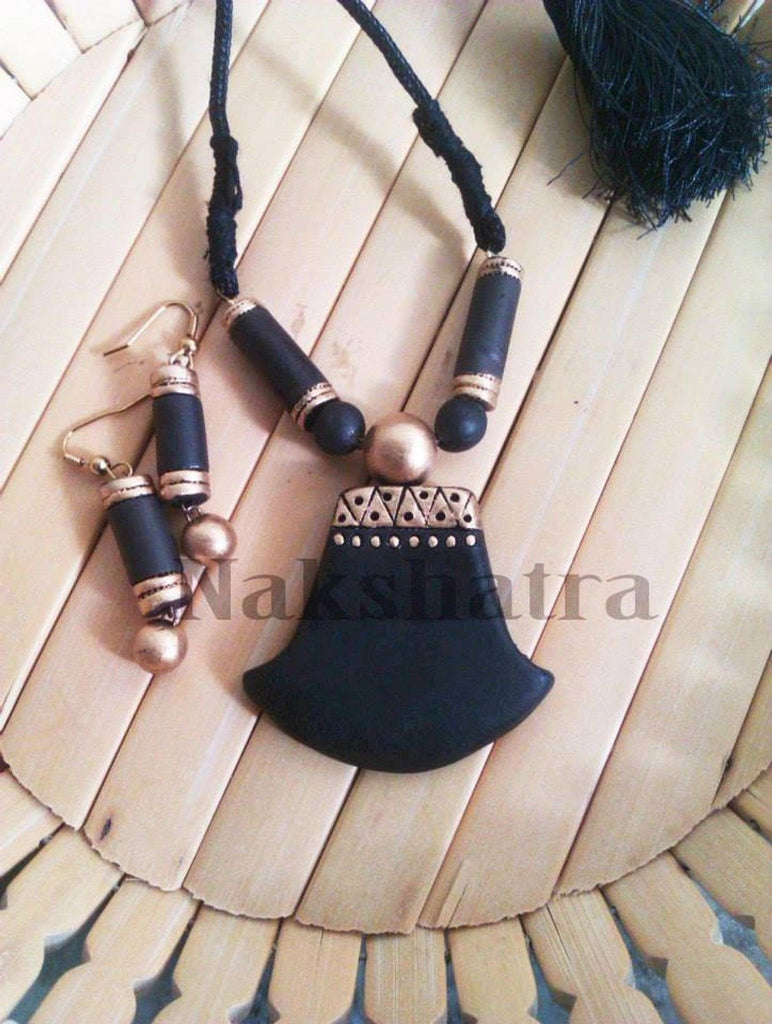 Jet Black Terracotta Jewellery Necklace