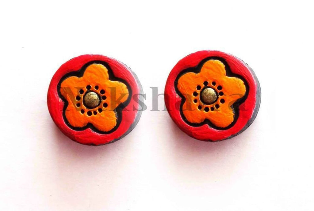Flower Art Terracotta Tiny Stud