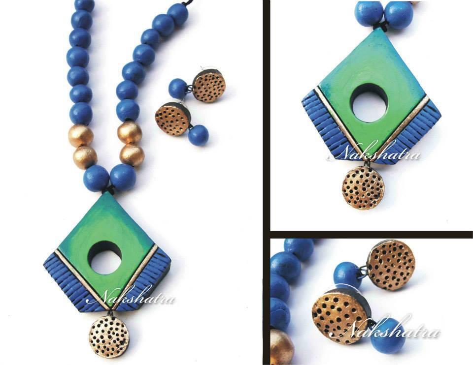 Green & Blue Colour Terracotta Necklace Set