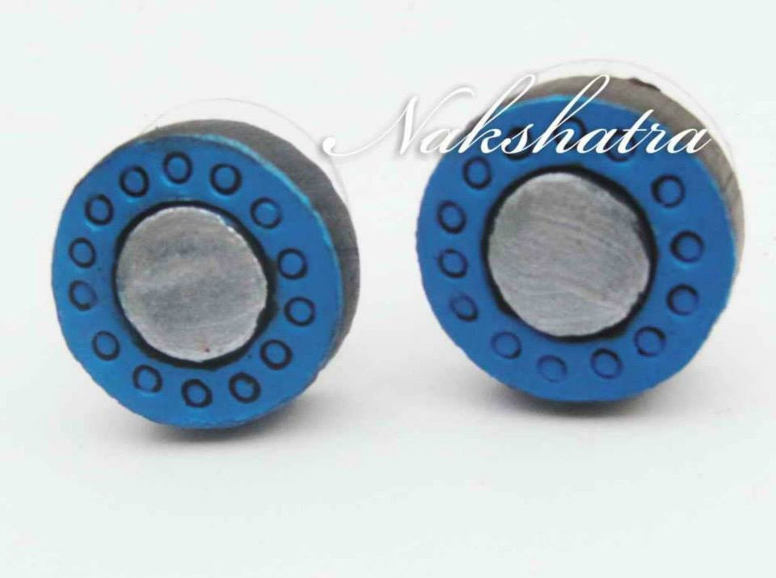 Blue And Silver Color Terracotta Tiny Stud