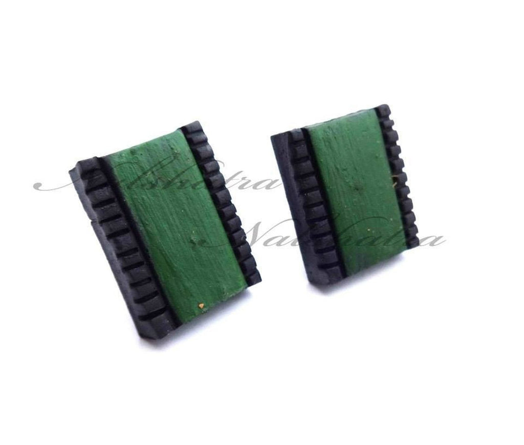 Green And Black Color Terracotta Tiny Stud