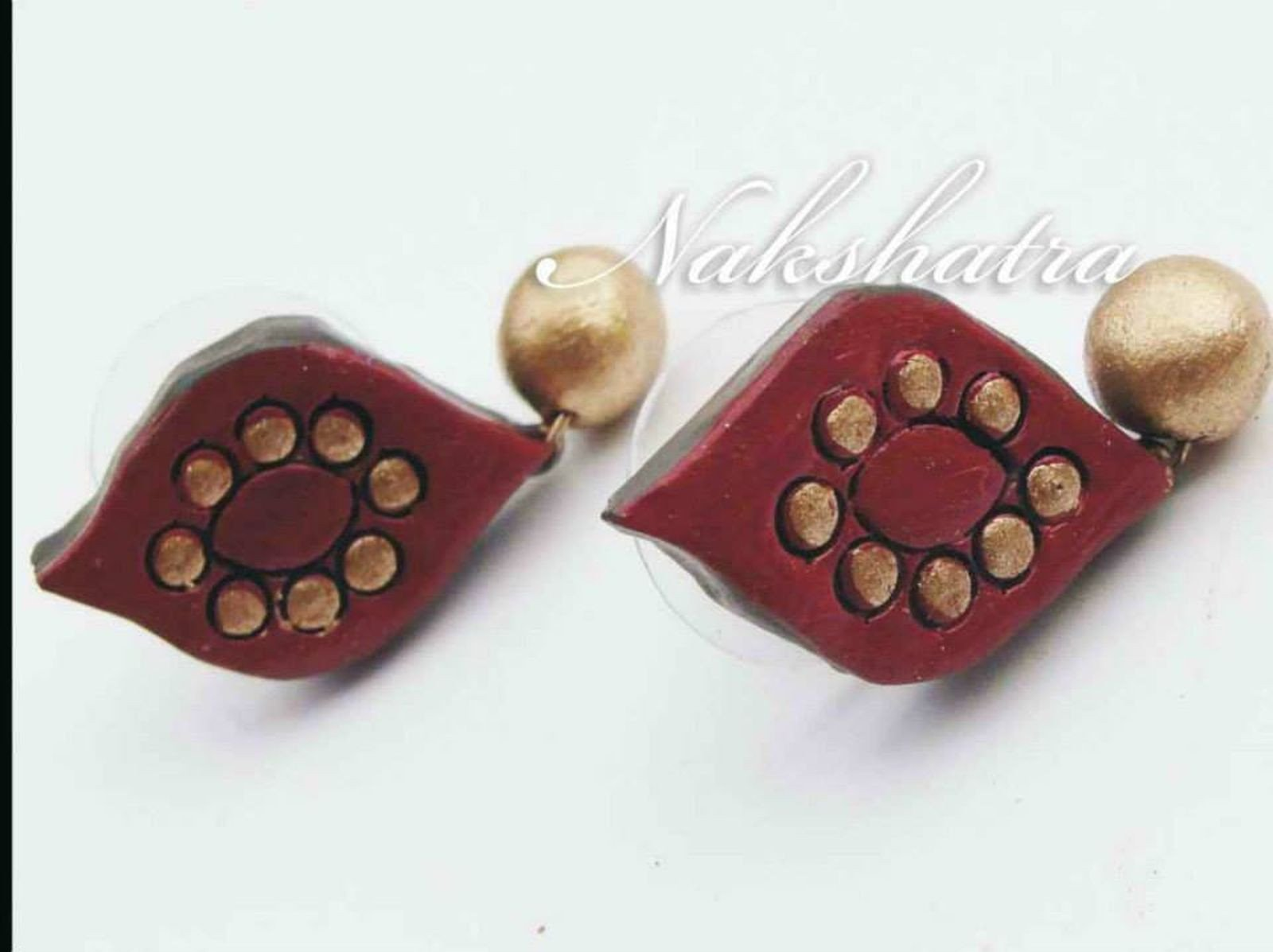 Brown And Gold Color Terracotta Tiny Stud