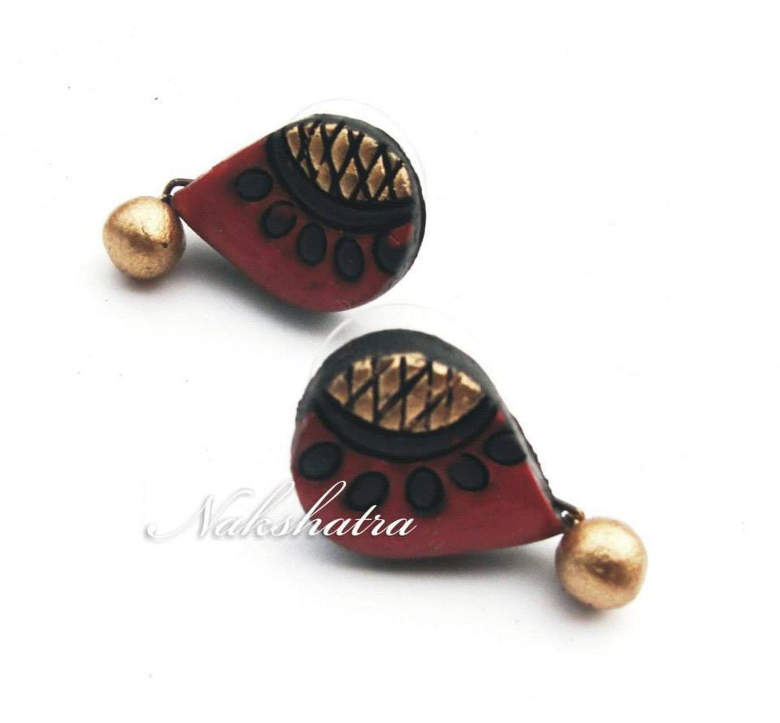Brown And Gold Terracotta Tiny Stud By Nakshatra