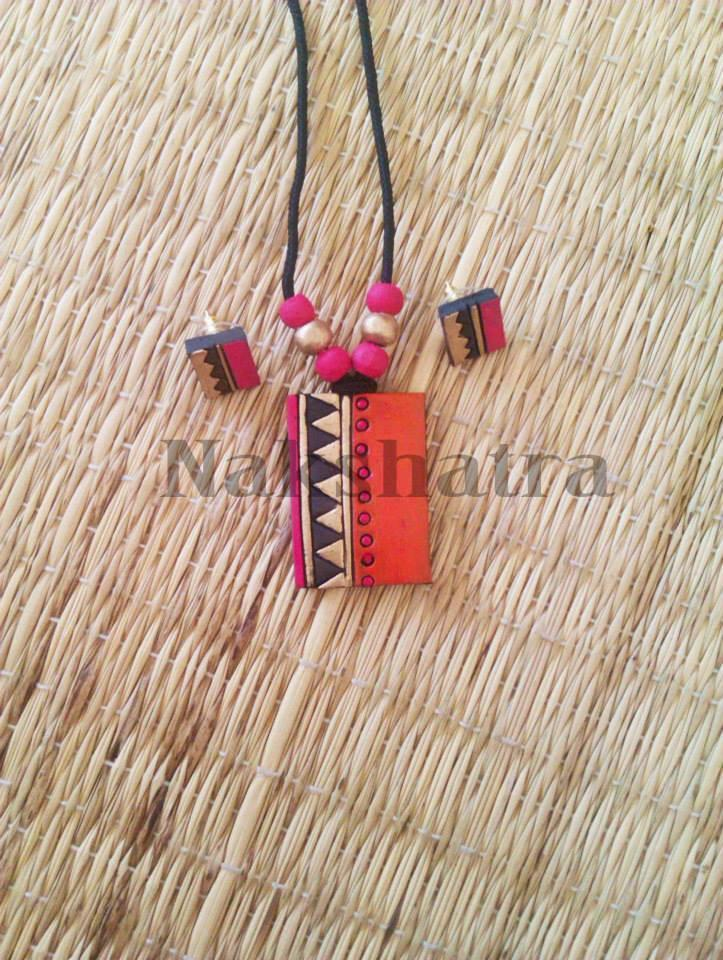 Orange Colour Terracotta Necklace Set.