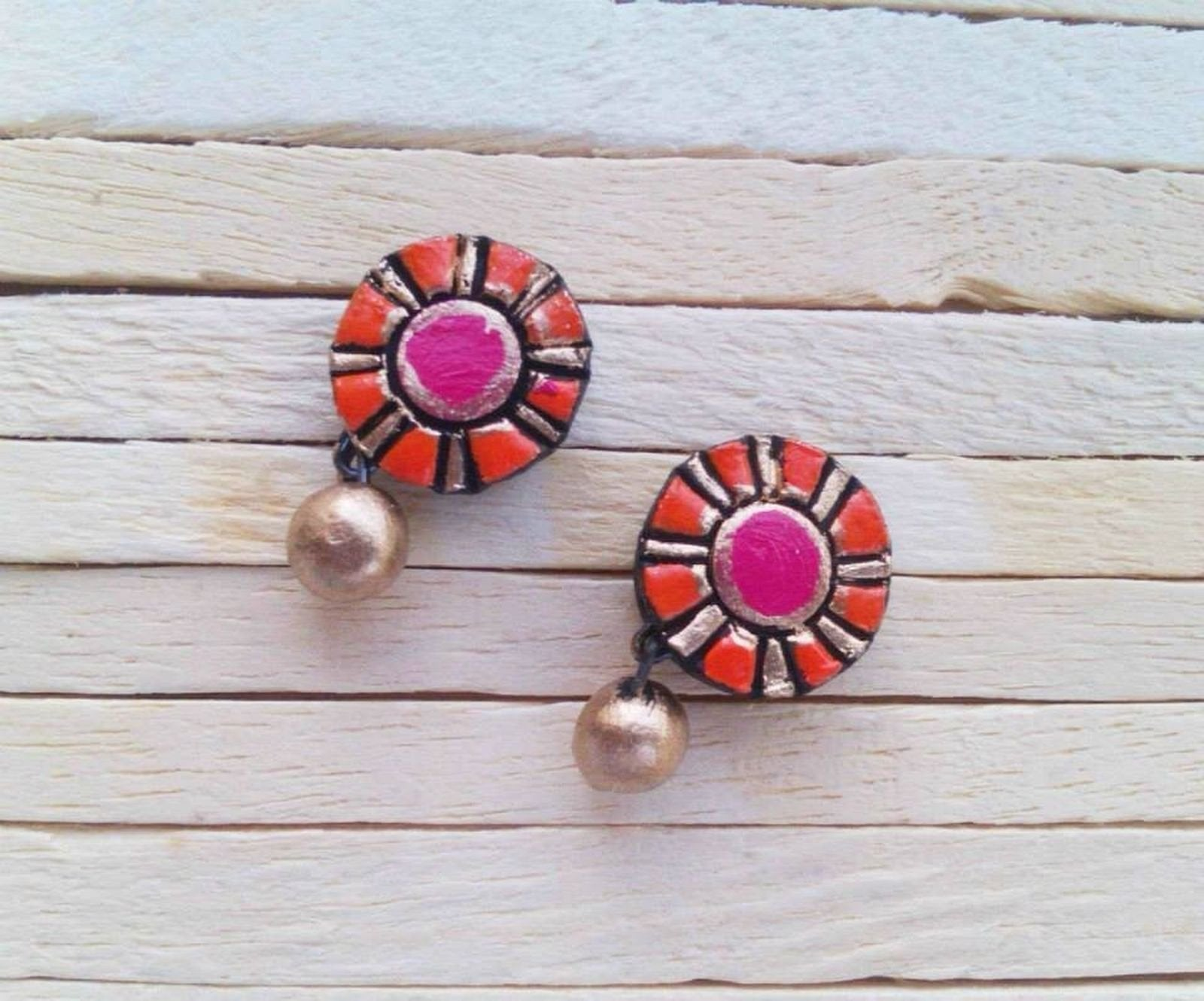 Orange And Pink Terracotta Tiny Stud