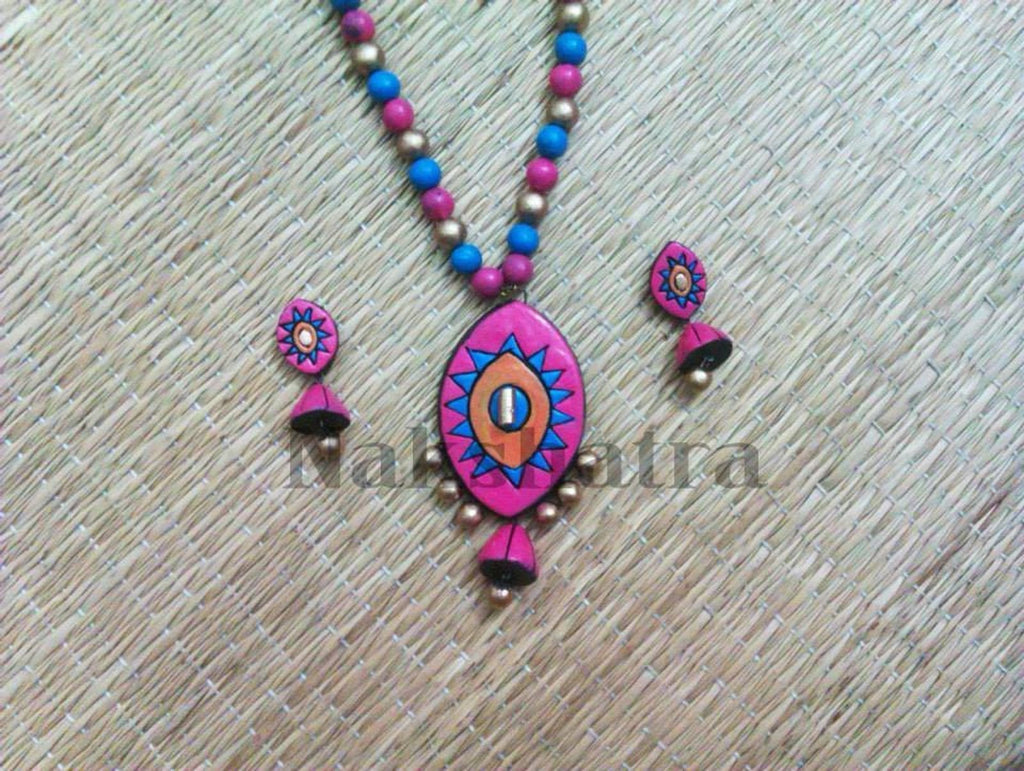Blue And Pink Color Terracotta Necklace Set