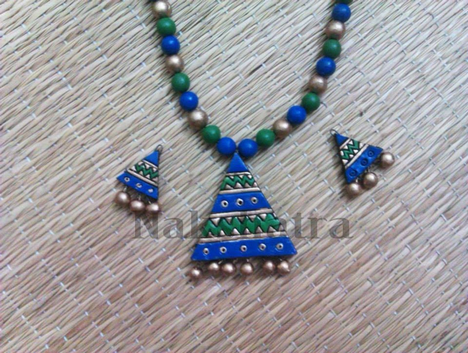 Blue And Green Color Terracotta Necklace Set