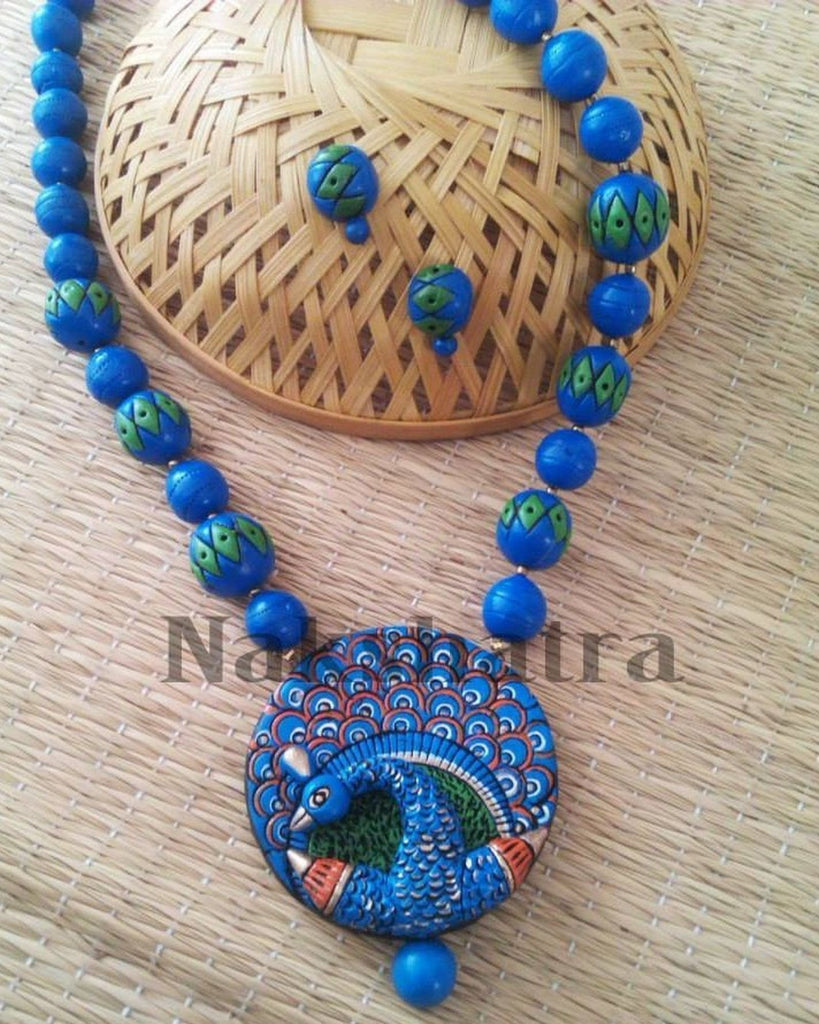 Blue And Green Terracotta Necklace Set By Nakshatra