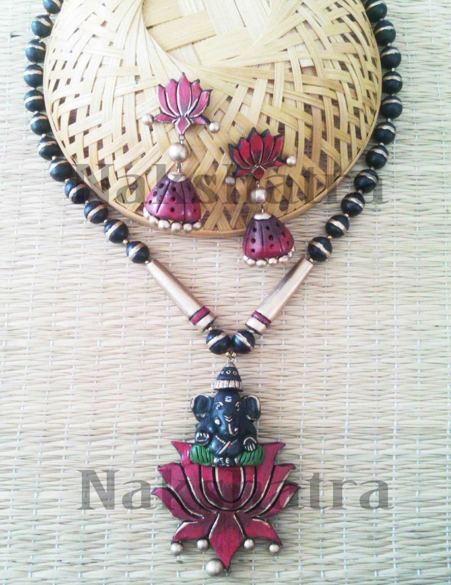Dark Pink And Green Terracotta Necklace Set