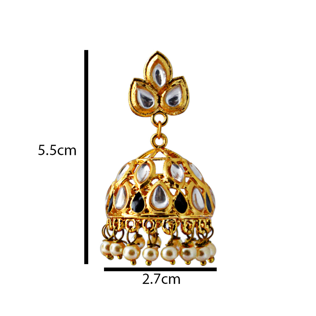 Mk Jewellers Midnight Black Color Meenakari With Kundan Jhumka Earring-MK JEWELLERS1-Earring