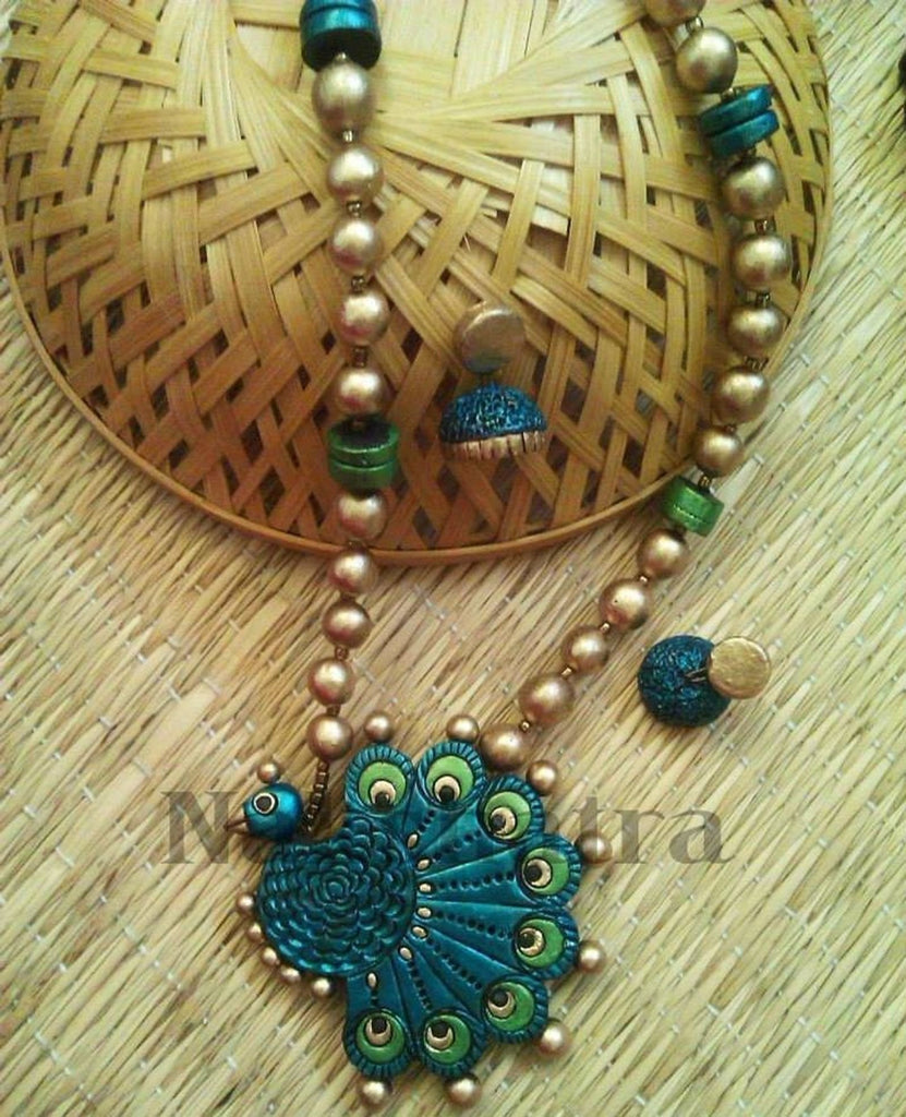 Blue, Green, Antique Gold Terracotta Necklace