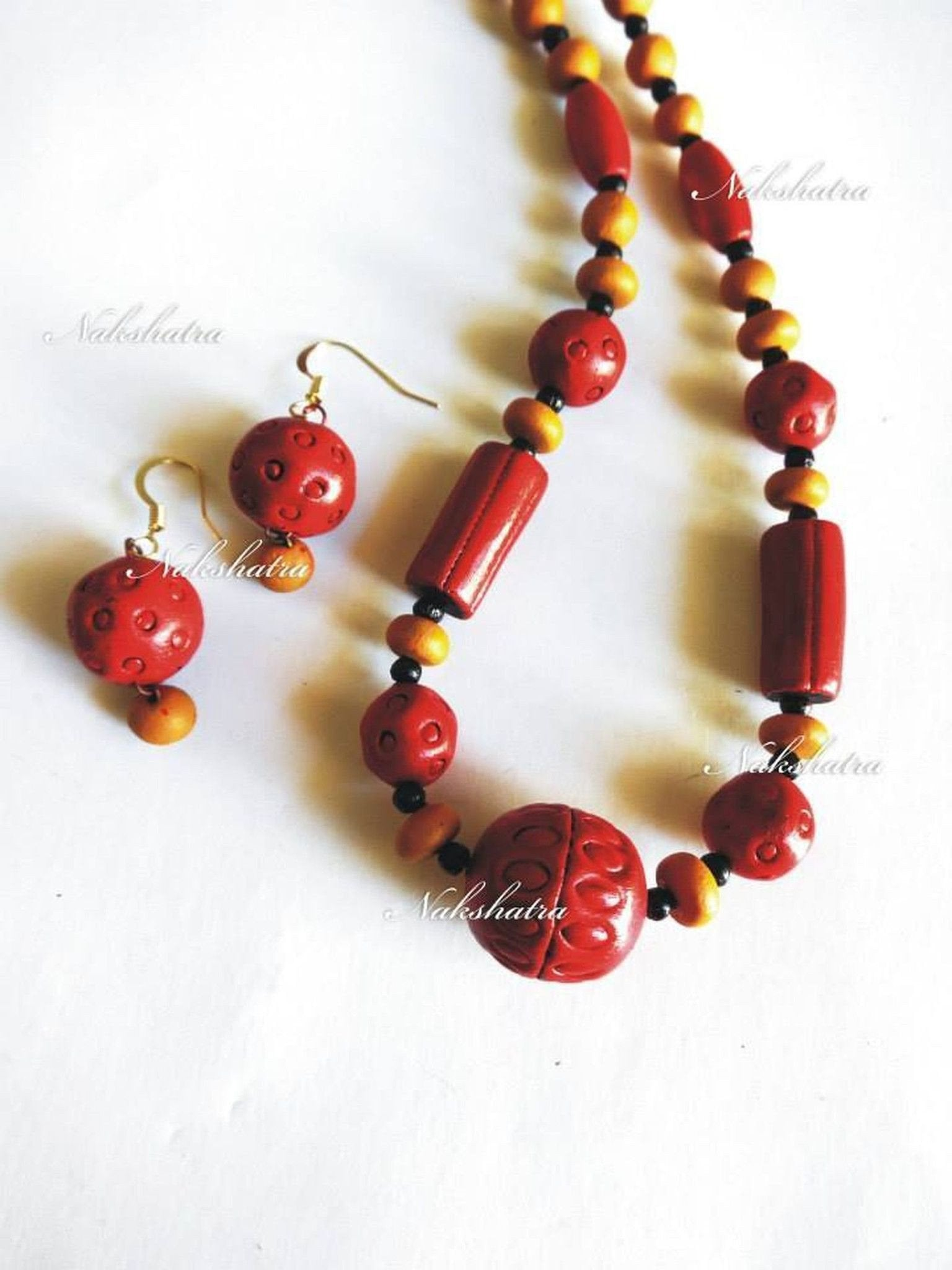 Red And Mustard Yellow Terracotta Necklace Set