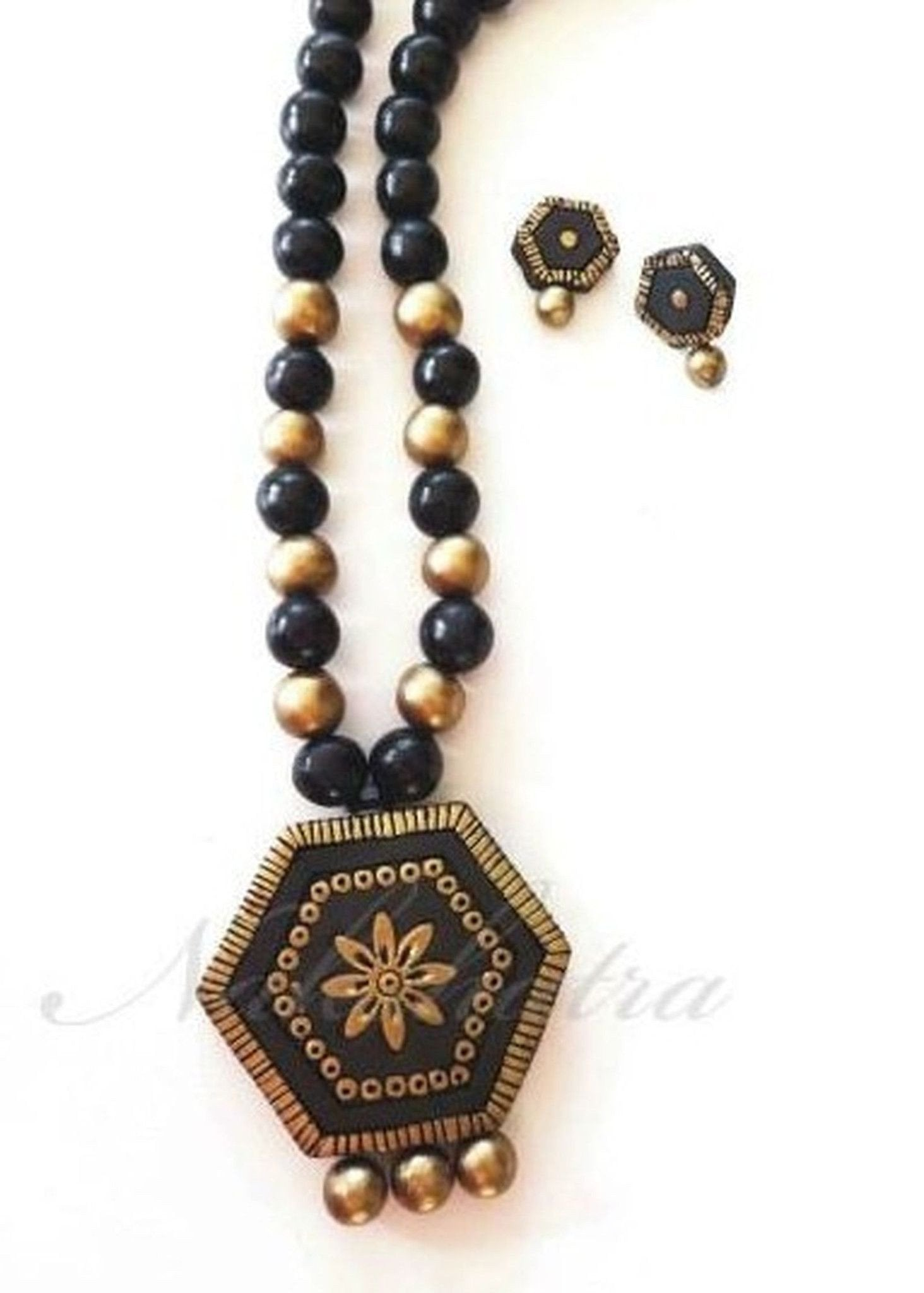 Black Terracotta  Necklace Set
