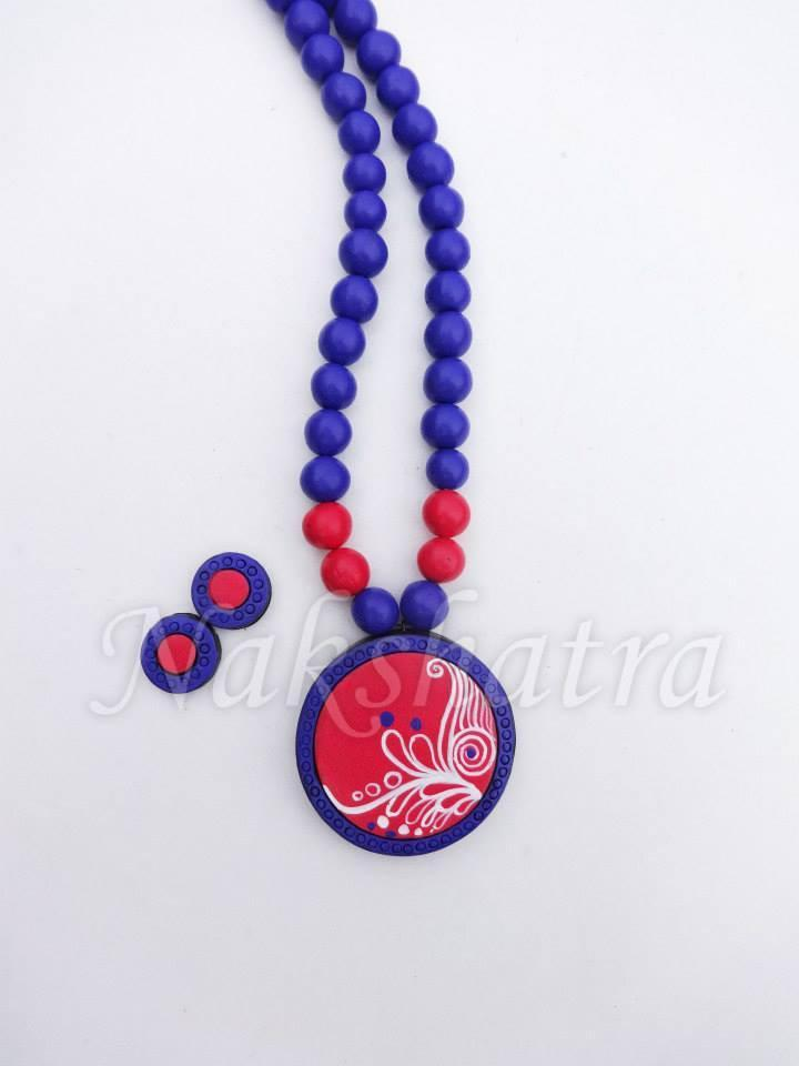 Blue & Pink Colour Terracotta Necklace Set