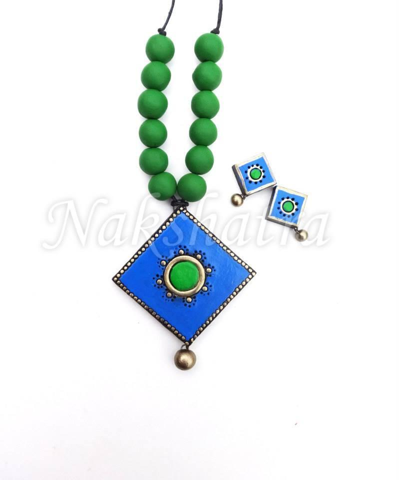Blue And Green Colour Terracotta Necklace Set