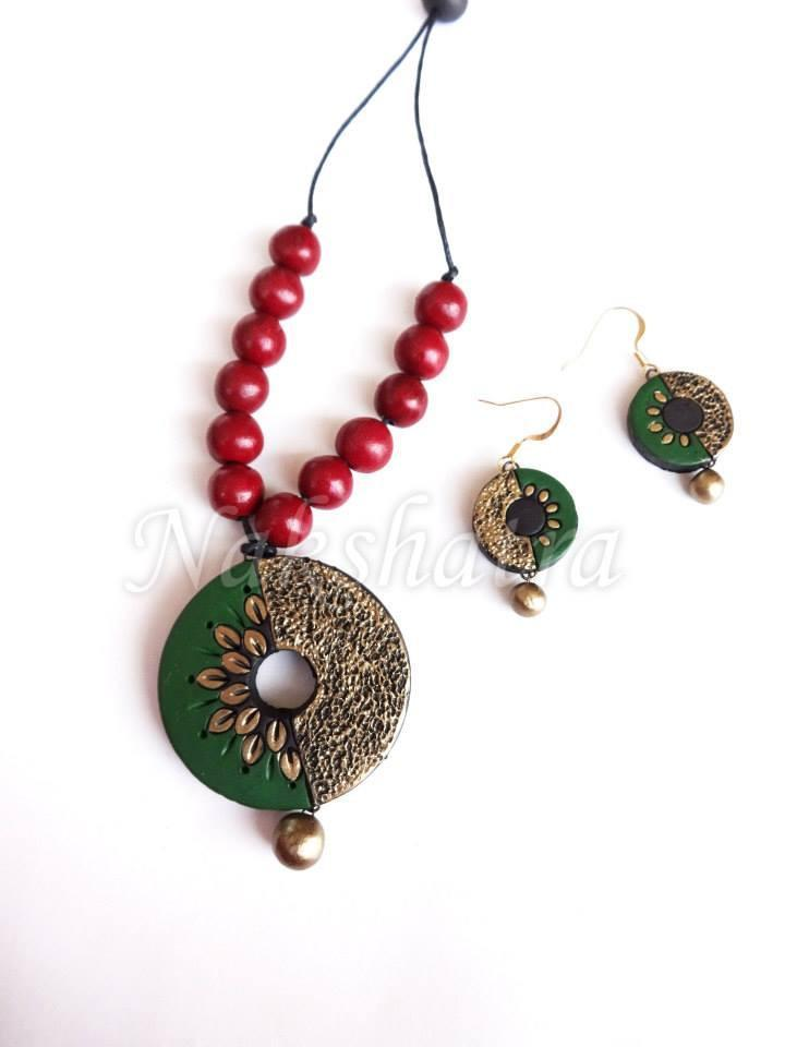 Green & Gold Terracotta Necklace Set