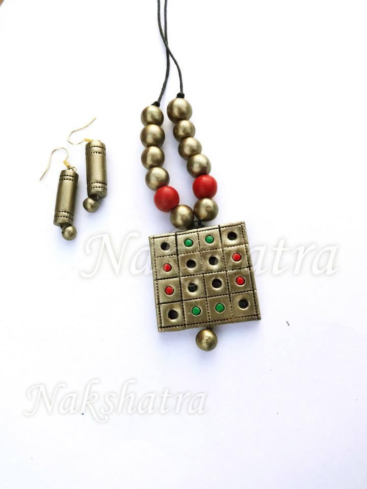 Golden Colour Terracotta Necklace Set
