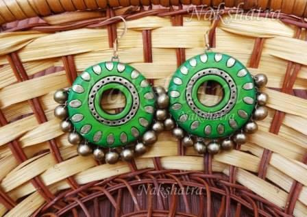 Green Colour Terracotta Stud Earring