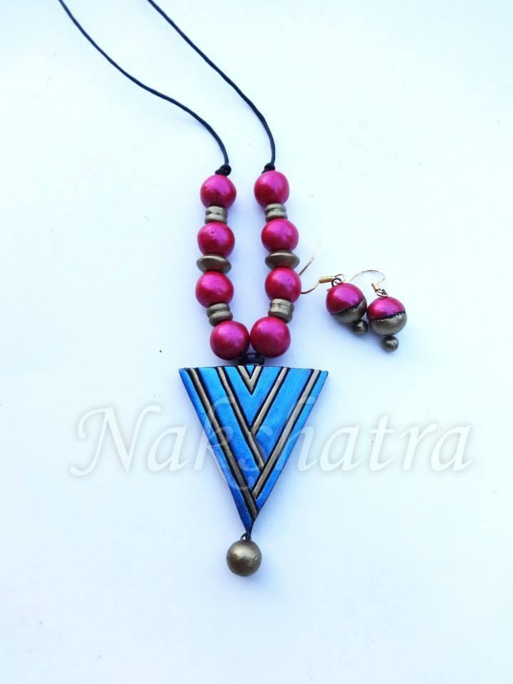 Turquoise Blue And Pink Colour Terracotta Necklace Set