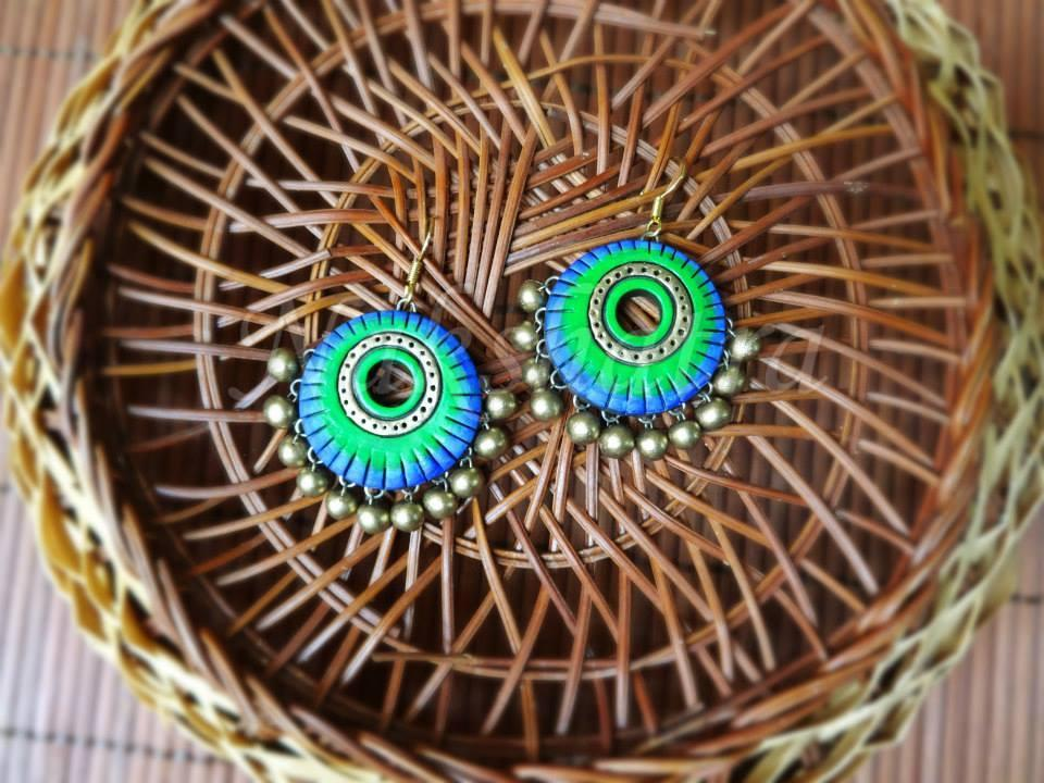 Blue & Green Colour Terracotta Stud Earring