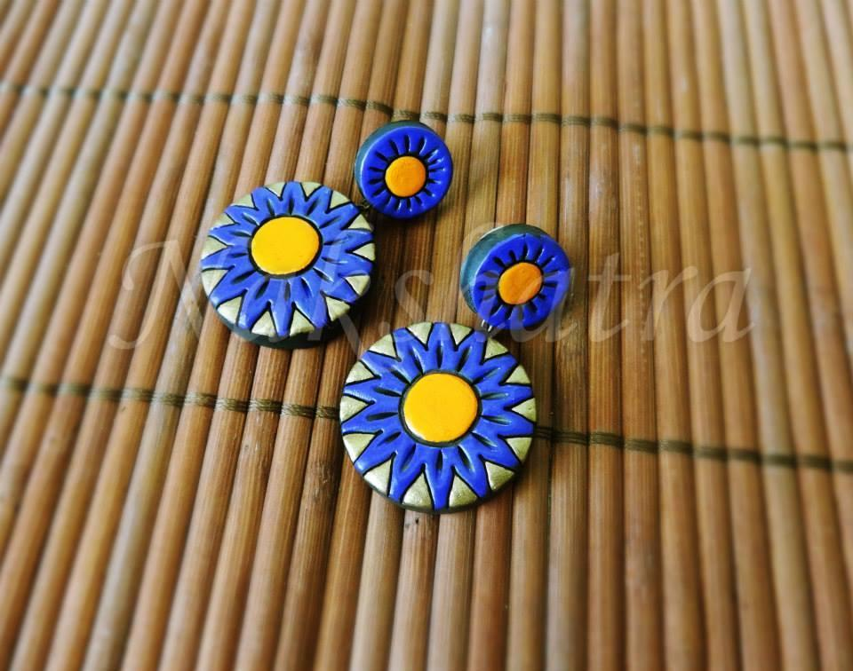Blue & Yellow Colour Terracotta Stud Earring