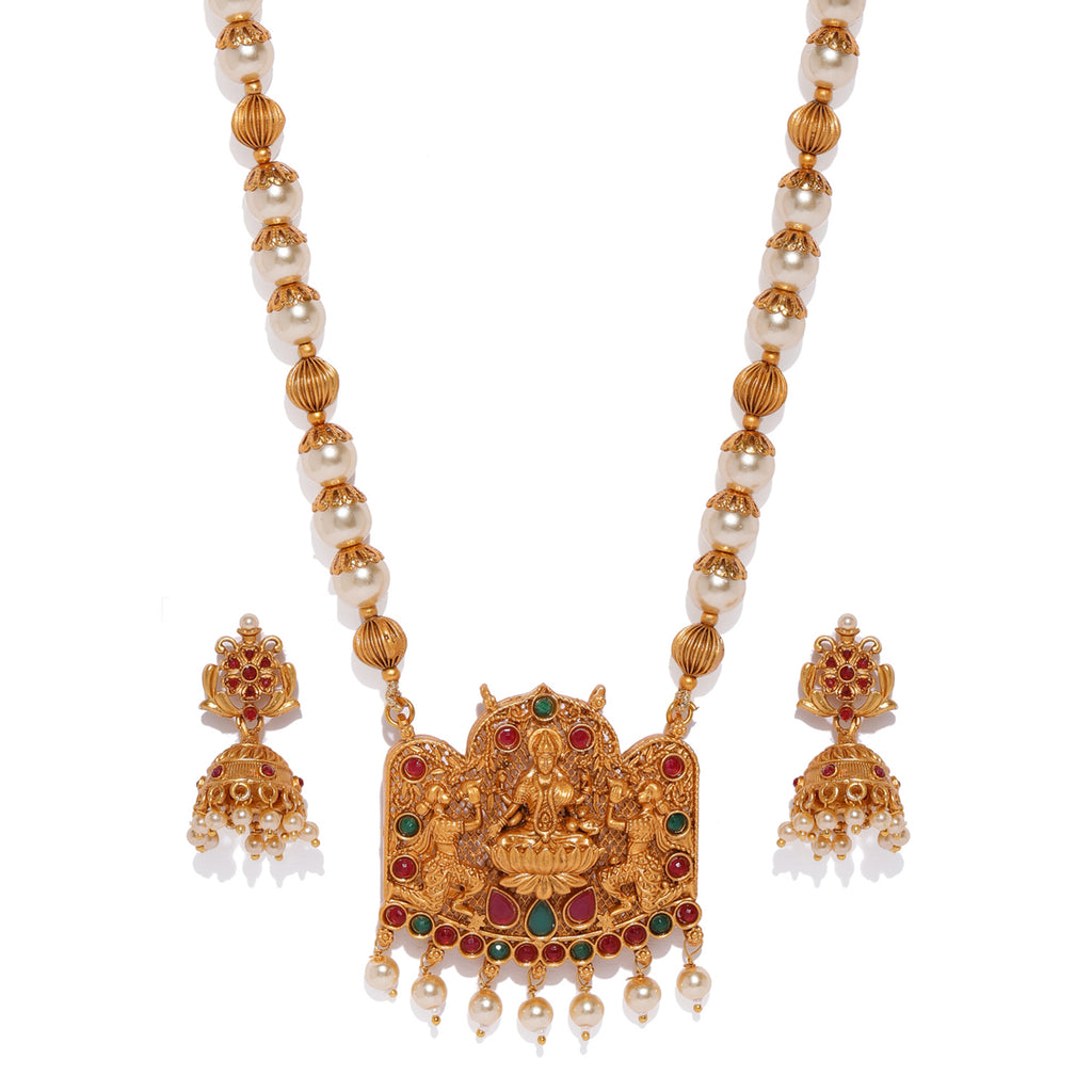 Sukkhi Sensational Temple Gold Plated Necklace Set for Women-SUKKHI-Necklace Set