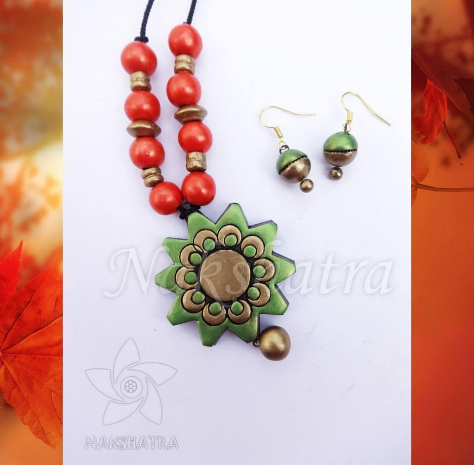 Green And Red Terracotta Necklace Set By Nakshatra