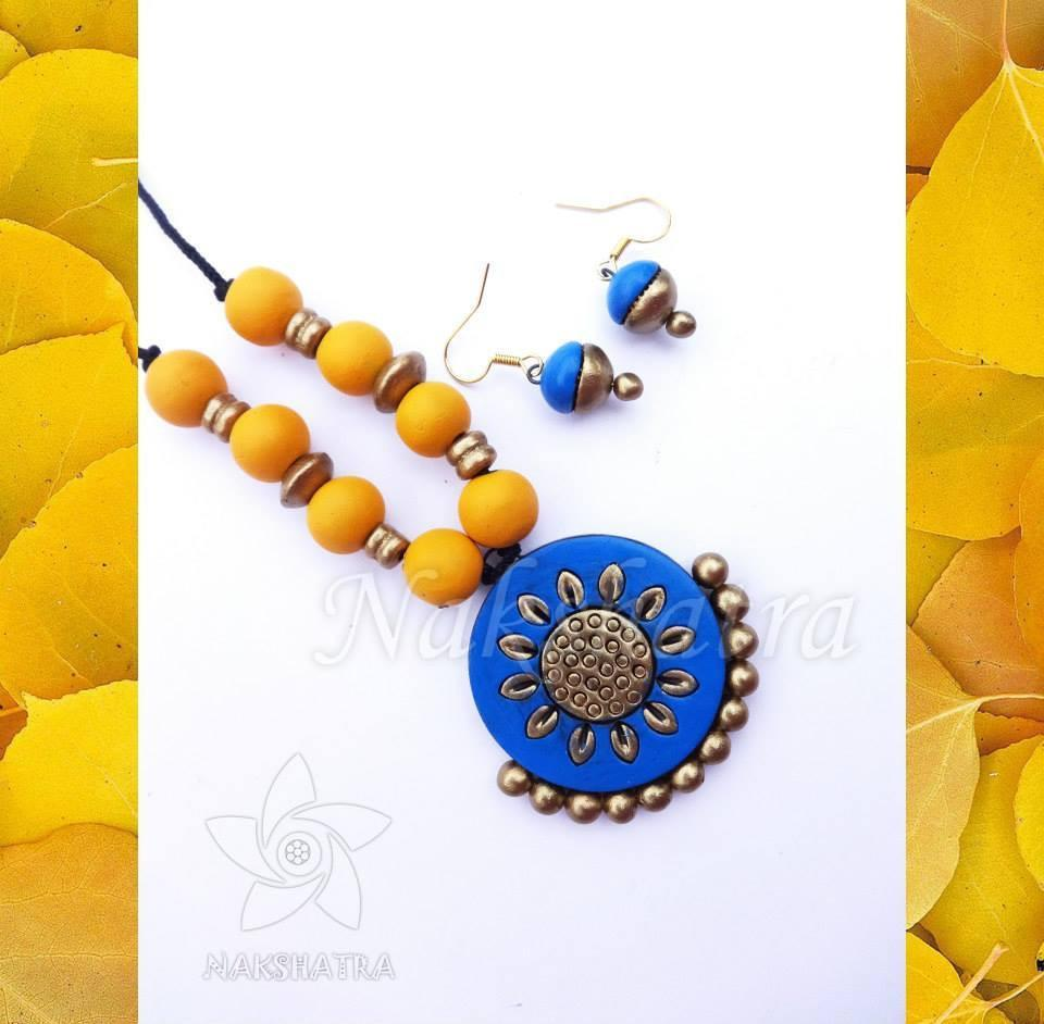 Blue And Yellow Color Terracotta Necklace Set
