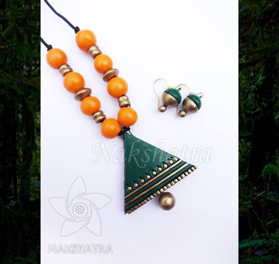 Green And Yellow Color Terracotta Necklace Set
