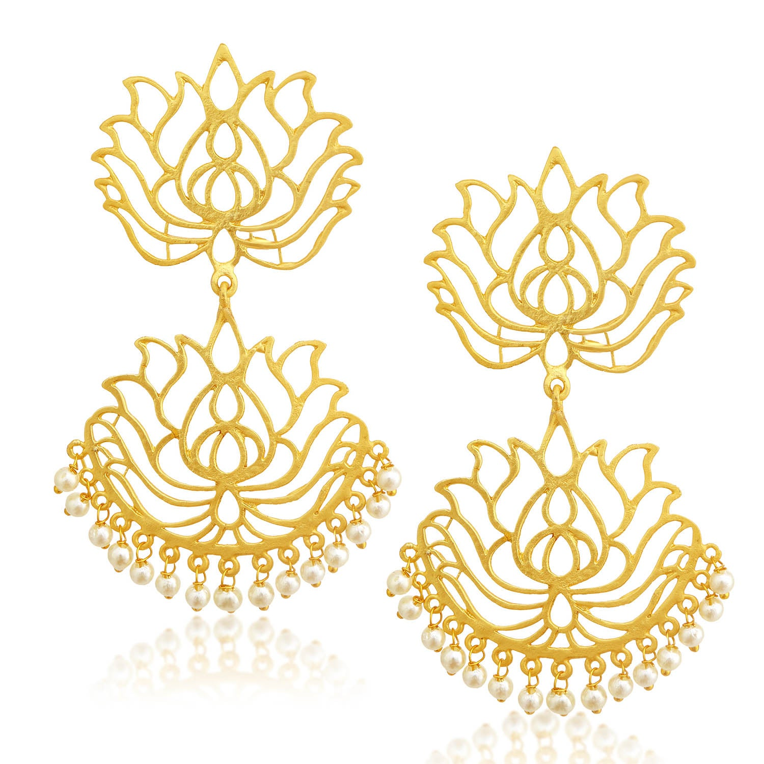 Sukkhi Glorious Gold Plated Pearl Lotus Chandelier Earring For Women-SUKKHI1-Earring