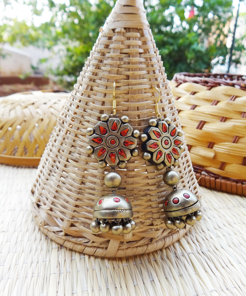 Antique Red & Gold Terracotta Jhumka By Nakshatra