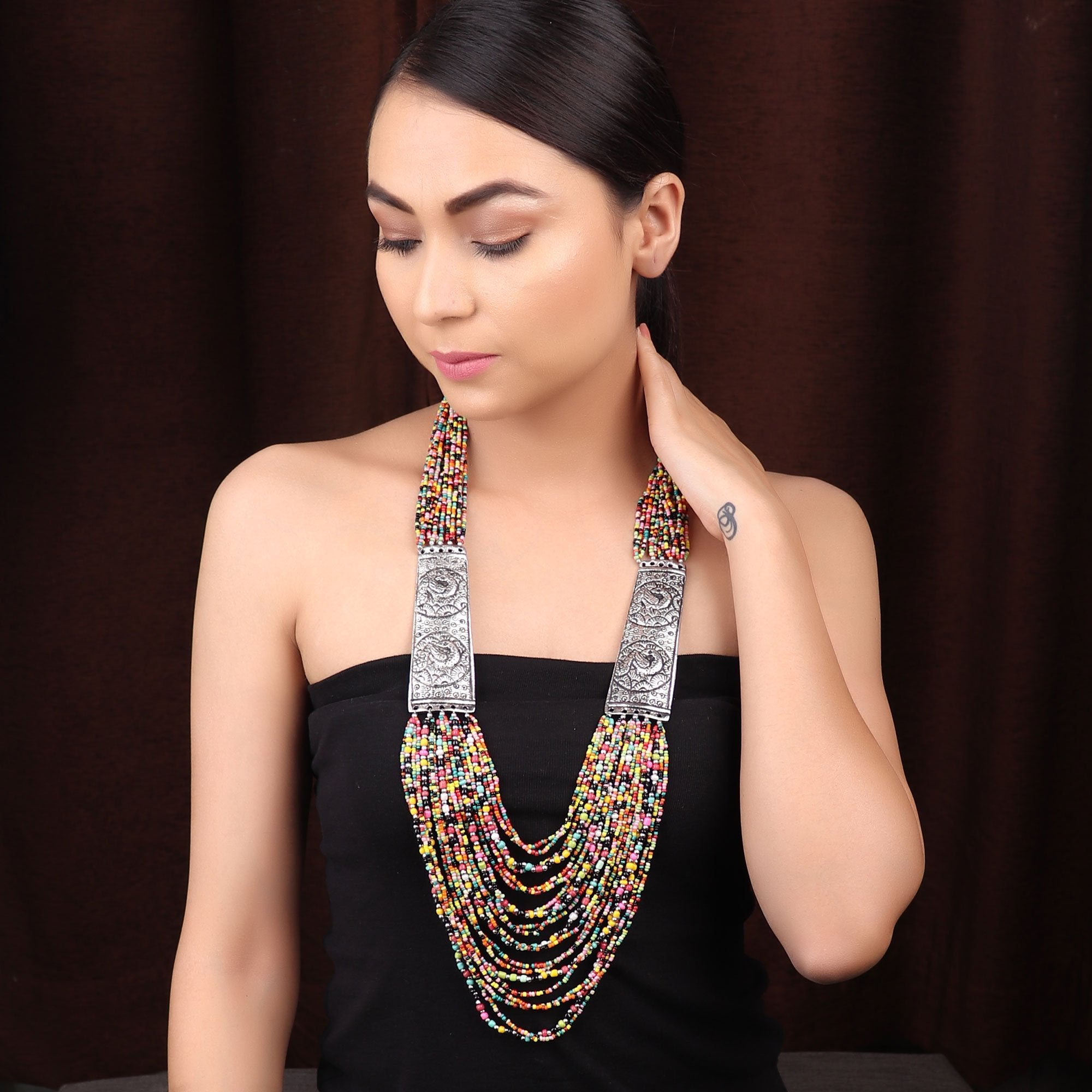 Silver Plated Multi Layered Peacock Design Side Pendants With Multicolor Beads Long Necklace By Cippele-Cippele-Necklace