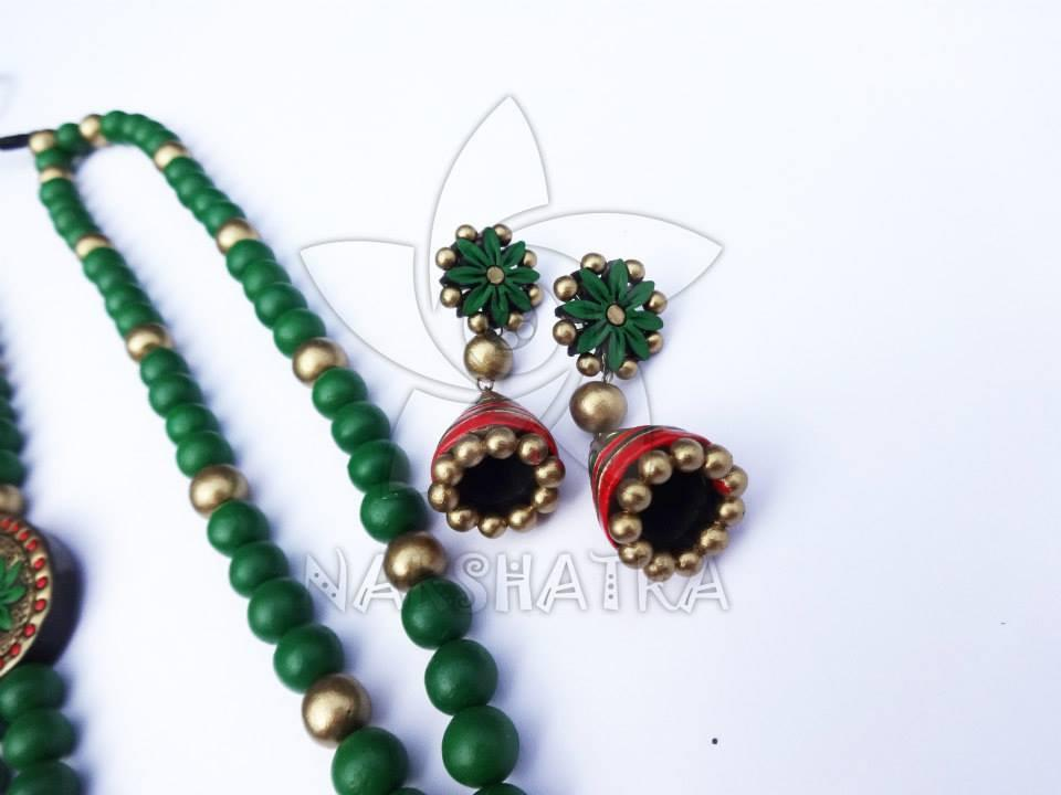 Green Color Terracotta Necklace Set By Nakshatra