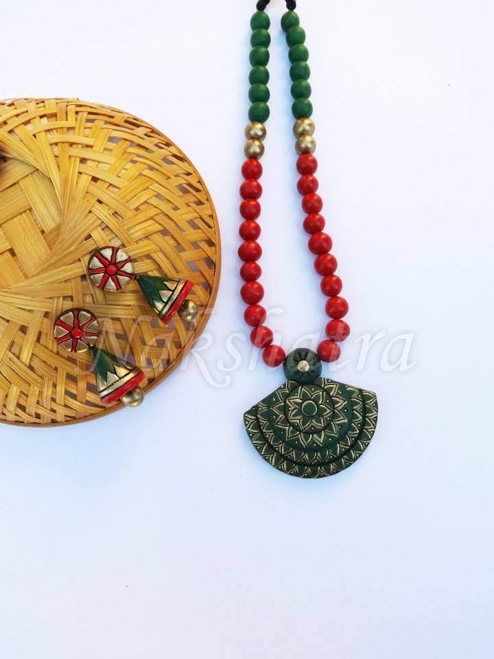 Green Colour Terracotta Necklace Set
