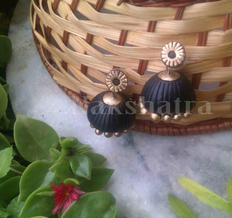 Black & Gold Terracotta Jhumka By Nakshatra