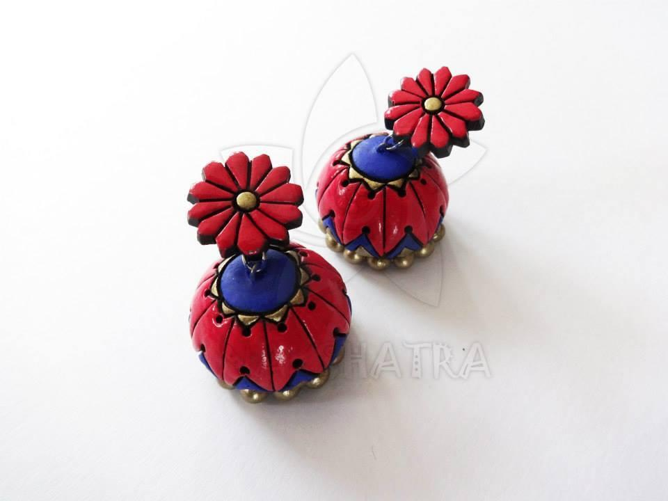Red Color Terracotta Earrings By Nakshatra