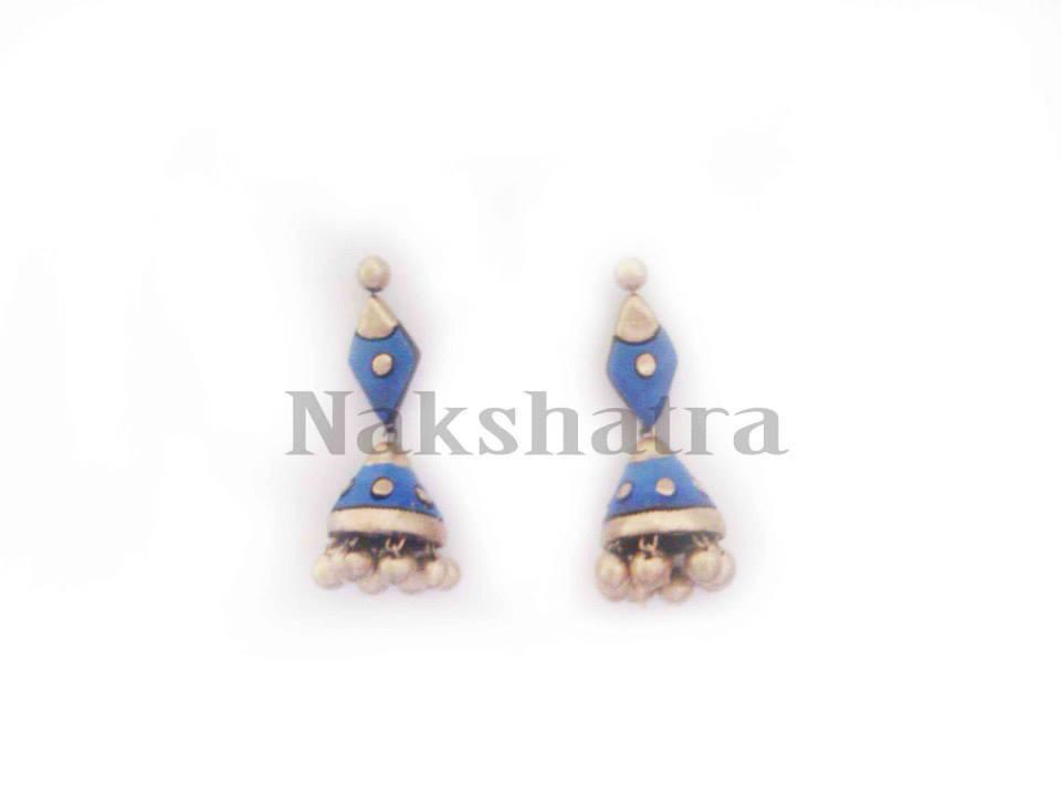 Blue And Gold Terracotta Jhumka By Nakshatra