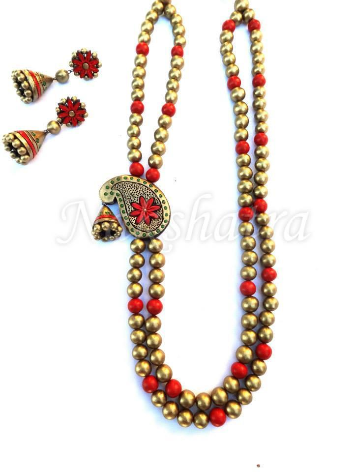 Red And Golden Color Terracotta Necklace Set