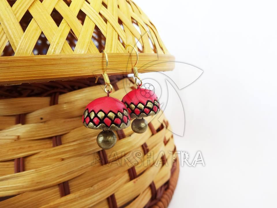 Red And Gold Color Terracotta Jhumka By Nakshatra