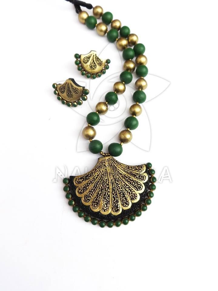 Green And Gold Terracotta Necklace Set By Nakshatra