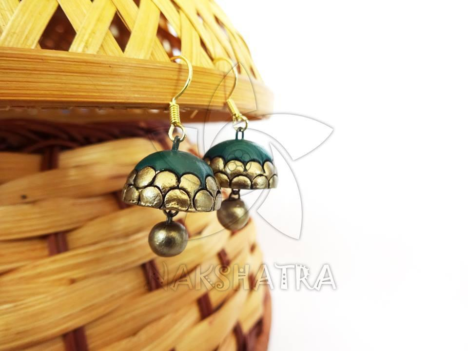 Green And Gold Color Terracotta Jhumka By Nakshatra