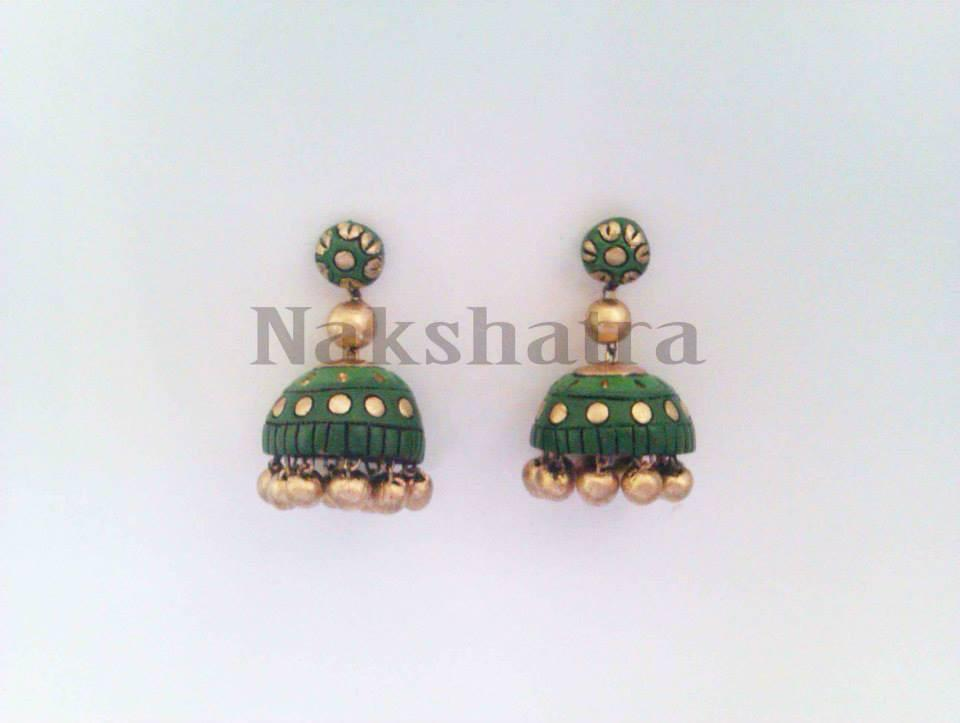 Green And Gold Terracotta Jhumka By Nakshatra