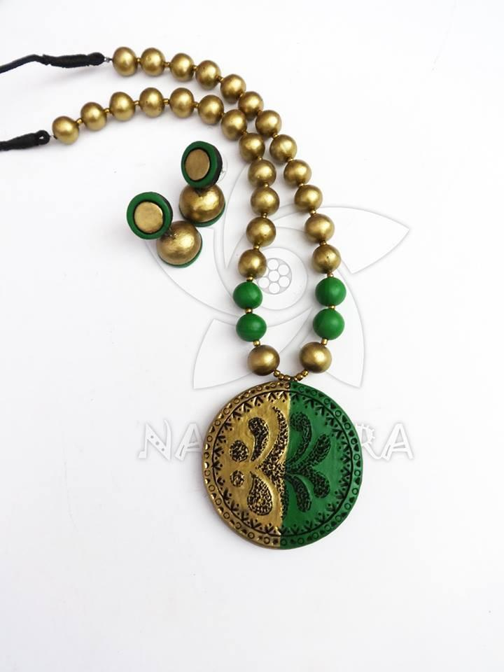 Green & Golden Colour Terracotta Necklace Set